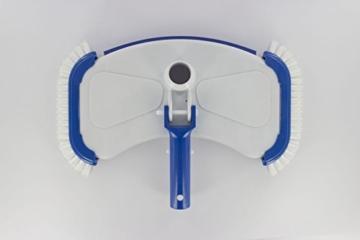 Steinbach Poolreinigung Bodensauger De Luxe, mit seitlichen Bürsten, Schlauchanschluss ؘ˜ 32/38 mm, für Teleskopstange, Weiß, 360x200 mm -